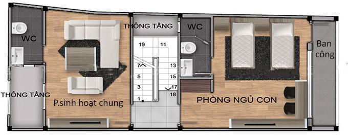 Mặt bằng tầng 2 mẫu thiết kế nhà phố 4 tầng có gác lửng