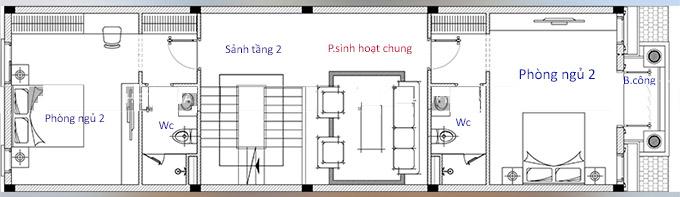 Mặt bằng công năng tầng 2 - Mẫu thiết kế nhà ống 4 tầng tân cổ điển