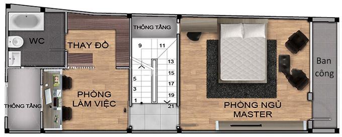 Mặt bằng tầng 3 mẫu thiết kế nhà phố 4 tầng có gác lửng