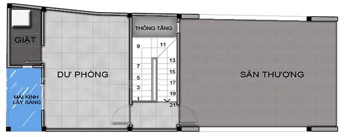 Mặt bằng tầng 4 mẫu thiết kế nhà phố 4 tầng có gác lửng