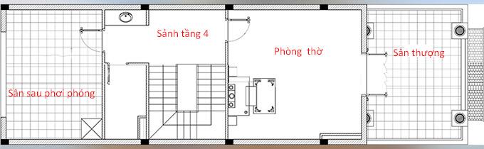 Mặt bằng công năng tầng 4 - Mẫu thiết kế nhà ống 4 tầng tân cổ điển