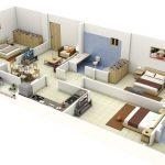 Gợi ý mặt bằng công năng nhà ống-nhà phố 3 phòng ngủ