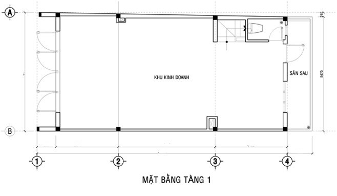 MB tầng 1-thiết kế nhà ống 3 tầng kết hợp kinh doanh
