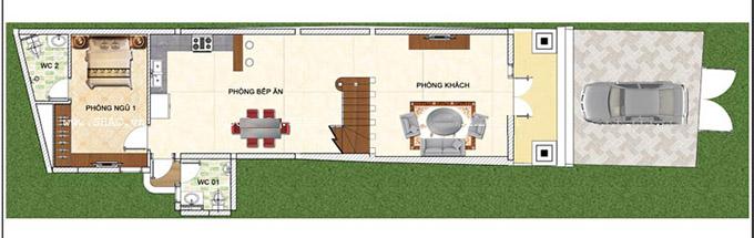 Mặt bằng công năng tầng 1 - Mẫu thiết kế nhà ống 3 tầng kiểu pháp