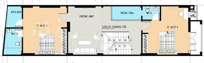 MB tầng 2-Mẫu thiết kế nhà ống 3 tầng 90m2