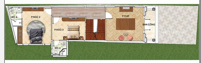 Mặt bằng công năng tầng 2 - Mẫu thiết kế nhà ống 3 tầng kiểu pháp