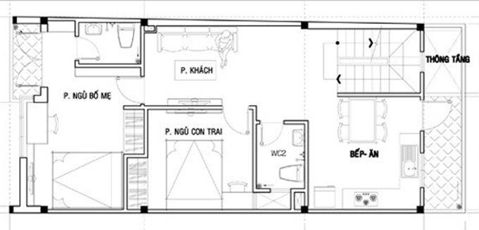 MB tầng 2-thiết kế nhà ống 3 tầng kết hợp kinh doanh