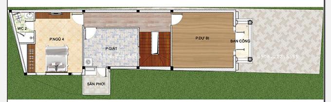 Mặt bằng công năng tầng 3 - Mẫu thiết kế nhà ống 3 tầng kiểu pháp