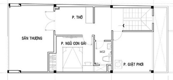 MB tầng 3-thiết kế nhà ống 3 tầng kết hợp kinh doanh