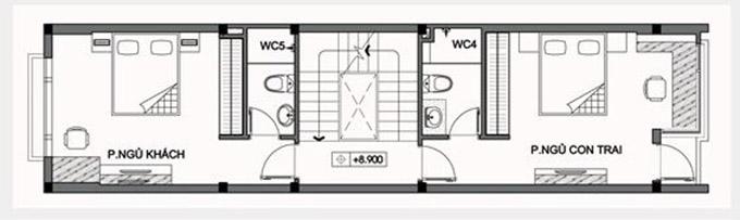 MB tầng 3-thiết kế nhà ống 3 tầng có tầng hầm