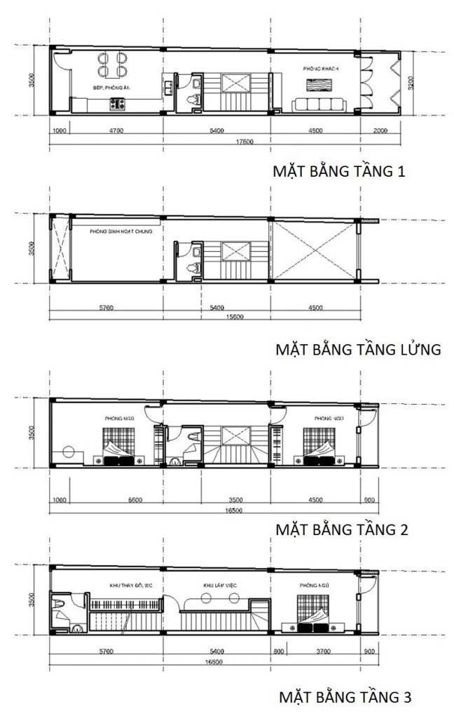 thiết kế mẫu nhà ống 5 tầng