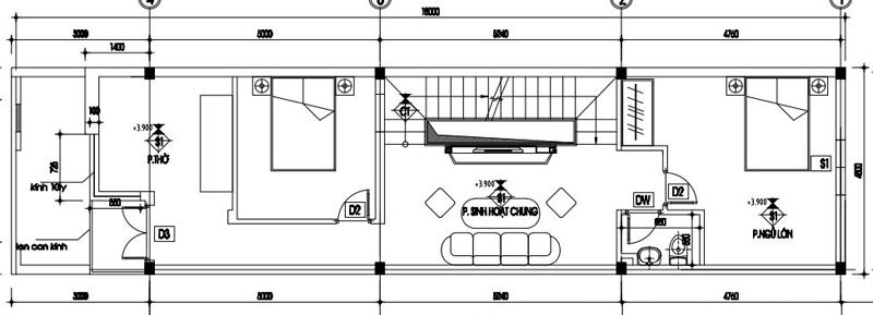 Bản vẽ chia công năng mặt bằng tầng 2 của mẫu thiết kế nhà ống đẹp