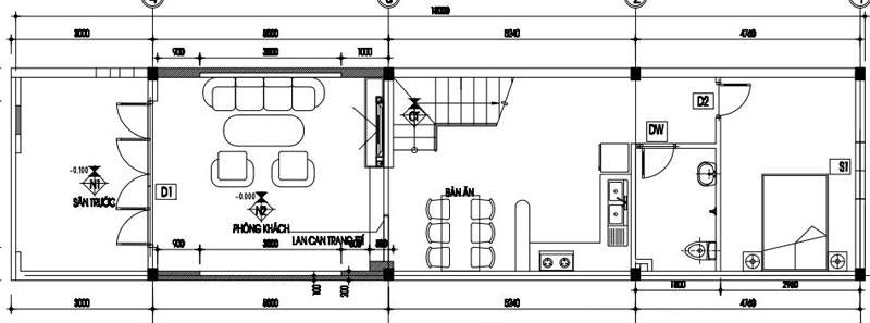 Bản vẽ chia công năng mặt bằng tầng 1 của mẫu thiết kế nhà ống đẹp