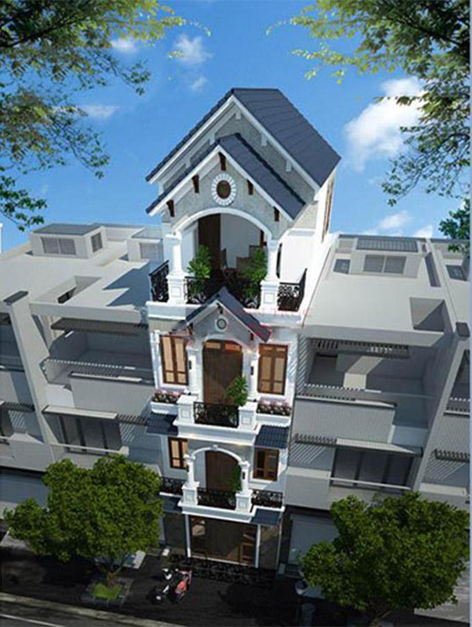 Phối cảnh mẫu thiết kế nhà ống 4 tầng mái thái - PC3