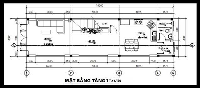 thiết kế nhà ống đẹp 2 tầng 4x15m phòng ngủ