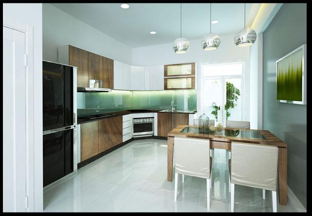 thiết kế nhà ống đẹp 2 tầng 4x15m  Phòng ăn