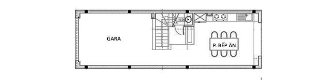 MB Tầng 1 - Mẫu nhà ống 3 tầng có gác lửng