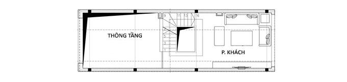 MB Tầng lửng - Mẫu thiết kế nhà ống 3 tầng có gác lửng