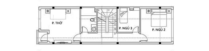 Công năng tầng 3 - Mẫu nhà ống 3 tầng hiện đại có gác lửng