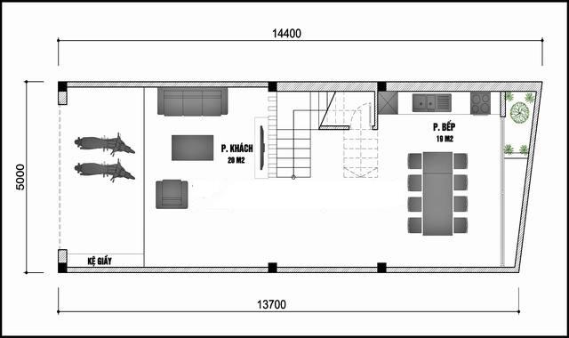 Phối cảnh mẫu nhà ống 3 tầng đẹp 5x14,4m hiện đại không gian thoáng - 2