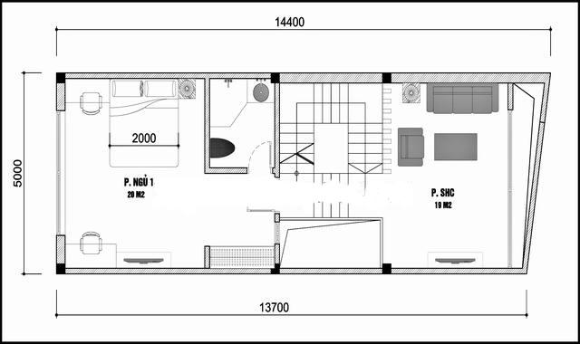 Phối cảnh mẫu nhà ống 3 tầng đẹp 5x14,4m hiện đại không gian thoáng - 3