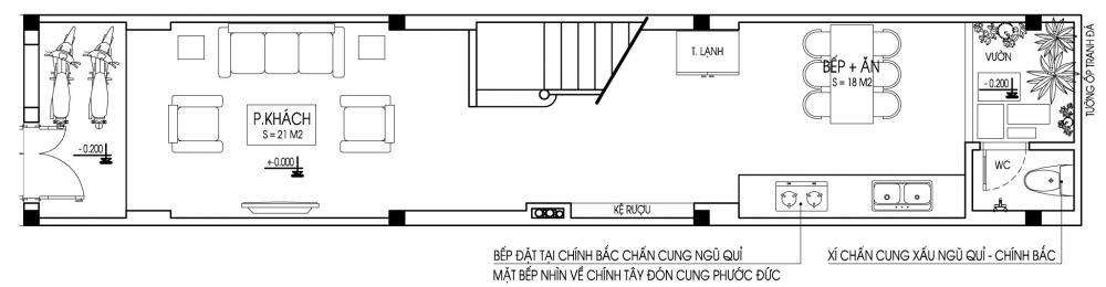 Tầng 1 - Mẫu nhà ống đẹp 3 tầng hiện đại 70m2