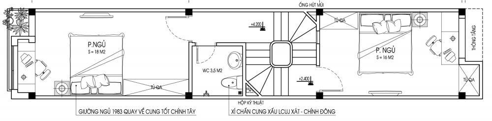Tầng 2 - Mẫu nhà ống đẹp 3 tầng hiện đại 70m2