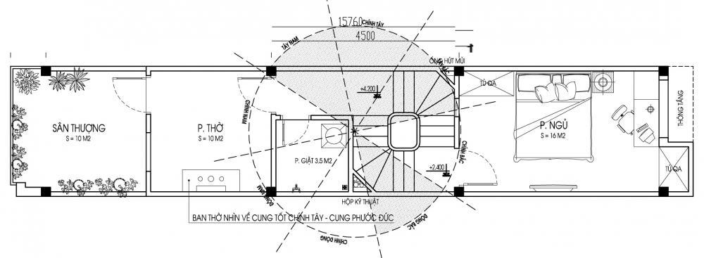 Tầng 3 - Mẫu nhà ống đẹp 3 tầng hiện đại 70m2