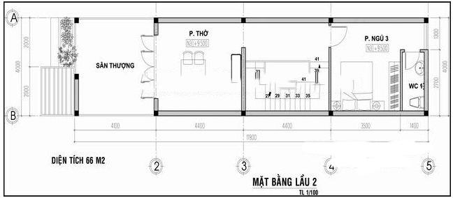 Mẫu nhà ống 3 tầng mặt tiền 4m. 4