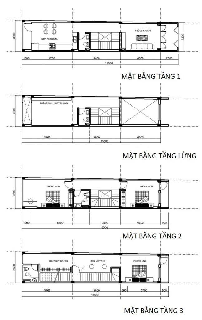 Chi tiết mặt bằng công năng các tầng của mẫu nhà ống 5 tầng diện tích 63m2