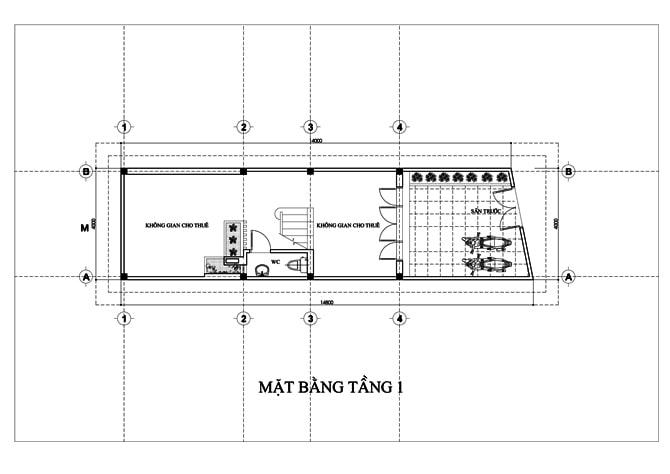 Mặt bằng của mẫu nhà ống 5 tầng để ở và kinh doanh -1