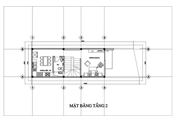 Mặt bằng của mẫu nhà ống 5 tầng để ở và kinh doanh -2