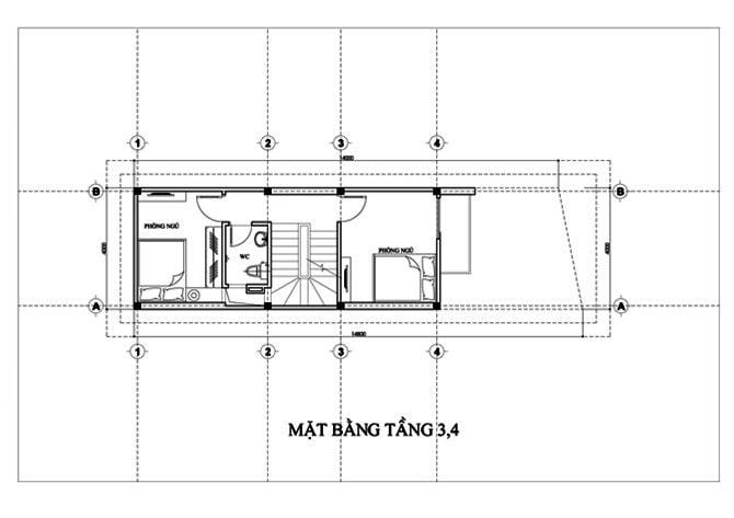 Mặt bằng của mẫu nhà ống 5 tầng để ở và kinh doanh - 3 - 4