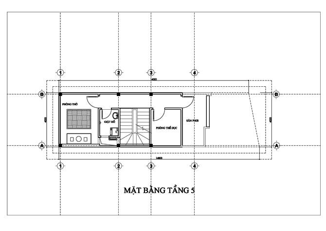 Mặt bằng của mẫu nhà ống 5 tầng để ở và kinh doanh - 5