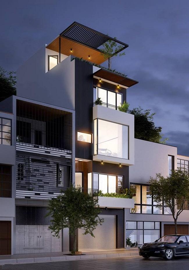 Mặt tiền và ngoại thất sang trọng của mẫu nhà ống 5 tầng hiện đại đẹp - 2