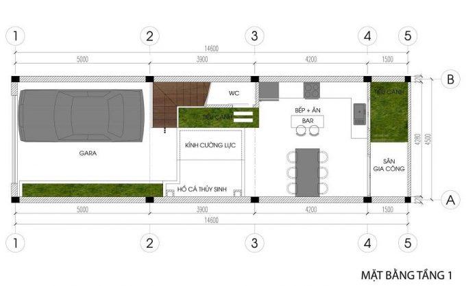 Mặt bằng mẫu nhà phố 5 tầng đẹp tiện nghi ở Hải Phòng - 1