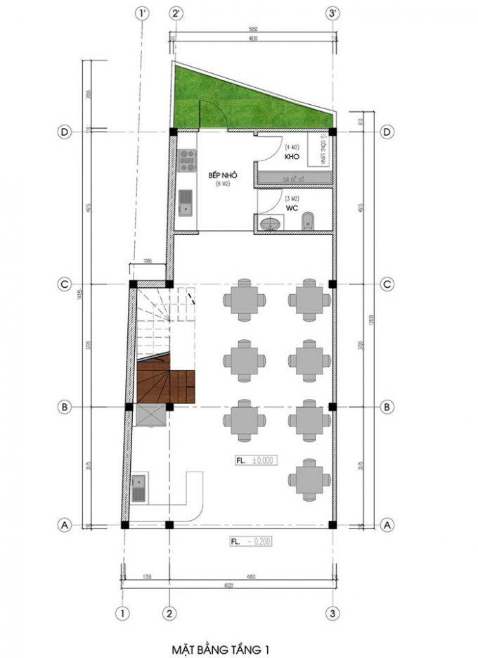 Mặt bằng mẫu nhà ống 5 tầng kết hợp kinh doanh phong cách hiện đại - tầng 1