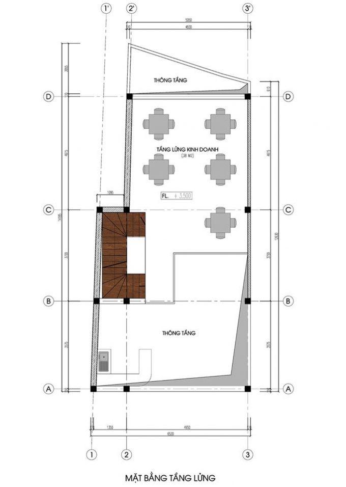 Mặt bằng mẫu nhà ống 5 tầng kết hợp kinh doanh phong cách hiện đại - tầng lửng