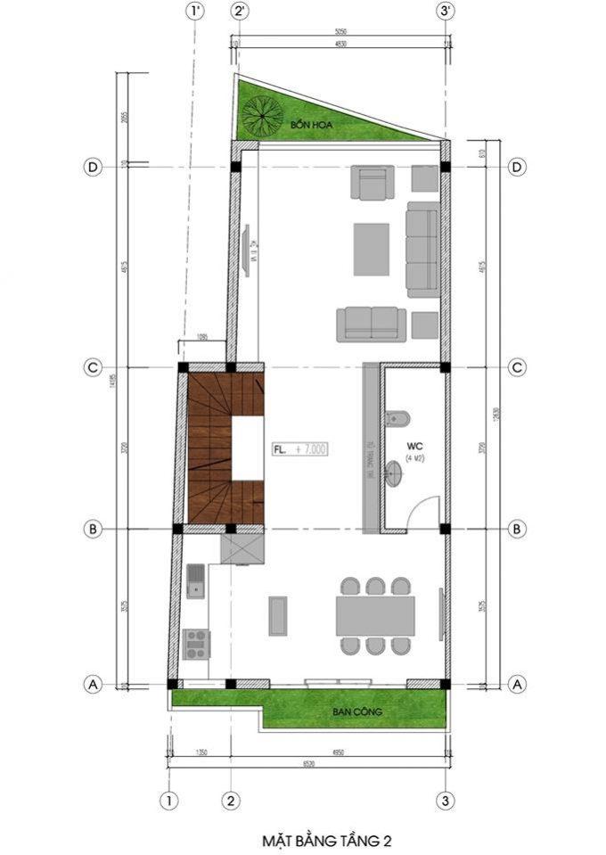 Mặt bằng mẫu nhà ống 5 tầng kết hợp kinh doanh phong cách hiện đại - tầng 2