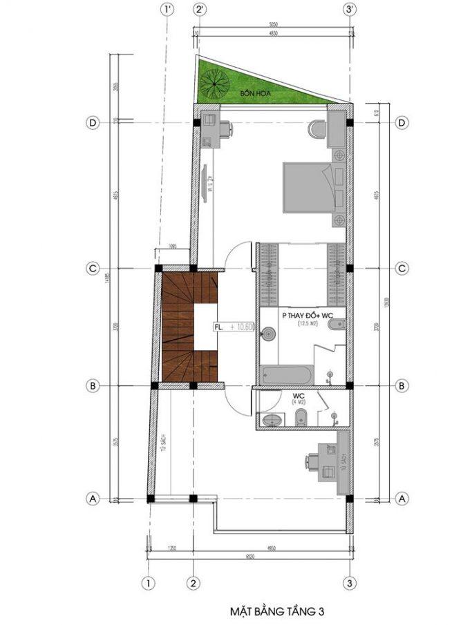 Mặt bằng mẫu nhà ống 5 tầng kết hợp kinh doanh phong cách hiện đại - tầng 3