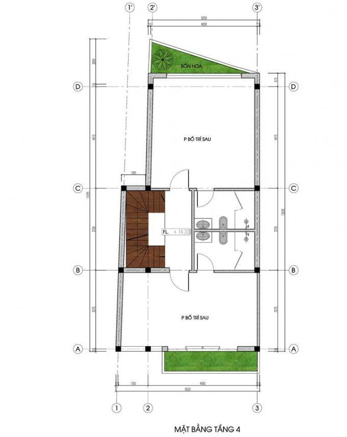 Mặt bằng mẫu nhà ống 5 tầng kết hợp kinh doanh phong cách hiện đại - tầng 4