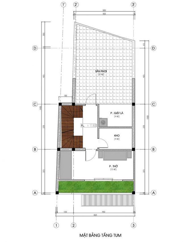 Mặt bằng mẫu nhà ống 5 tầng kết hợp kinh doanh phong cách hiện đại - tầng thượng