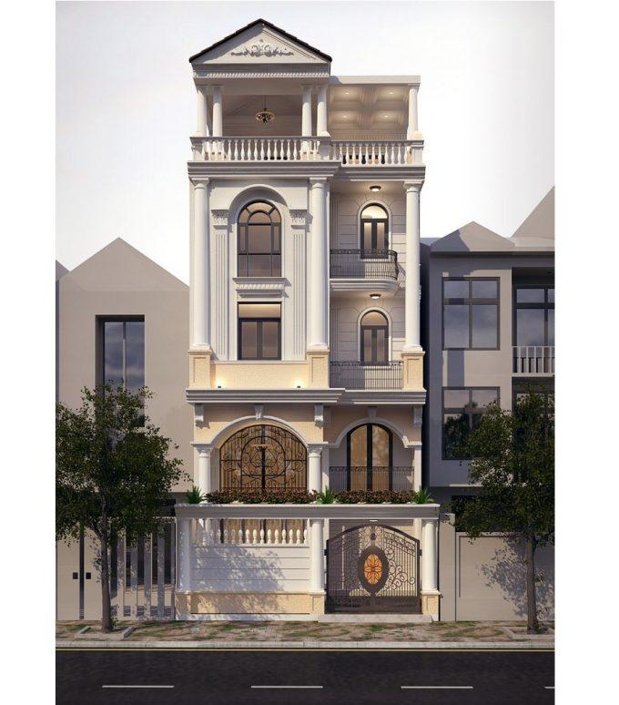 Mặt tiền mẫu nhà ống 5 tầng kiểu dáng biệt thự phố tân cổ điển - 1