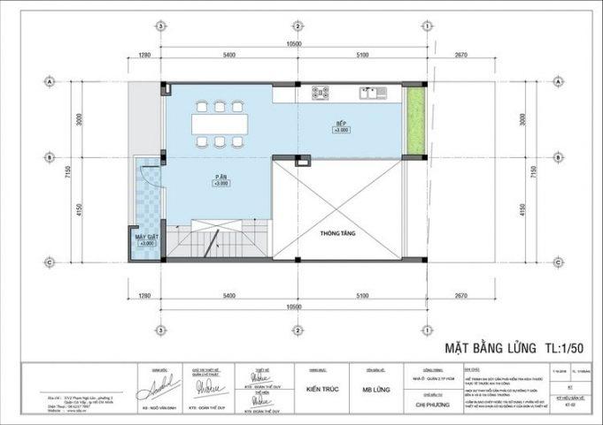 Mặt bằng mẫu nhà ống 5 tầng kiểu dáng biệt thự tân cổ điển - Tầng lửng