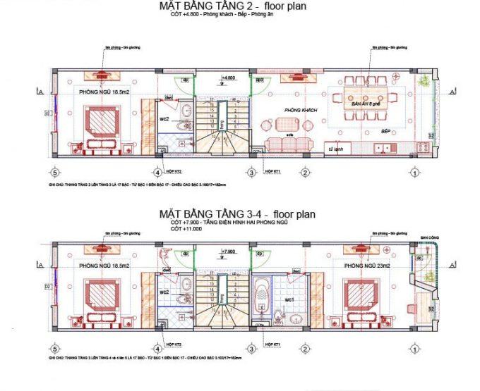 Mặt bằng mẫu nhà ống 5 tầng làm cửa hàng ở tầng 1 - 2