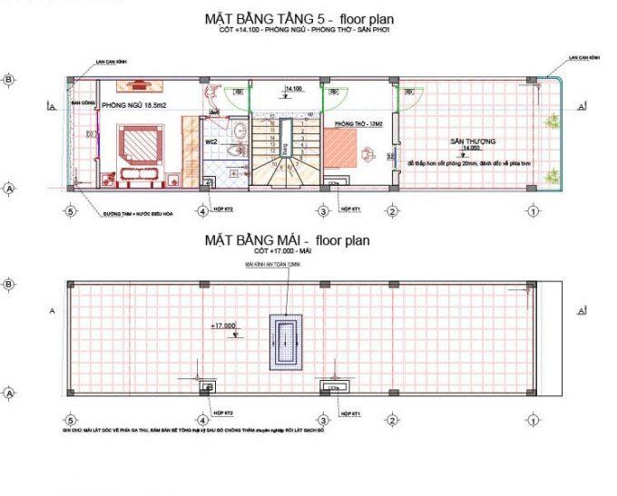 Mặt bằng mẫu nhà ống 5 tầng làm cửa hàng ở tầng 1 - 3