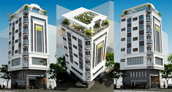 Mẫu nhà ống 7 tầng 8,8x6,9m làm trụ sở công ty - Phối cảnh các góc