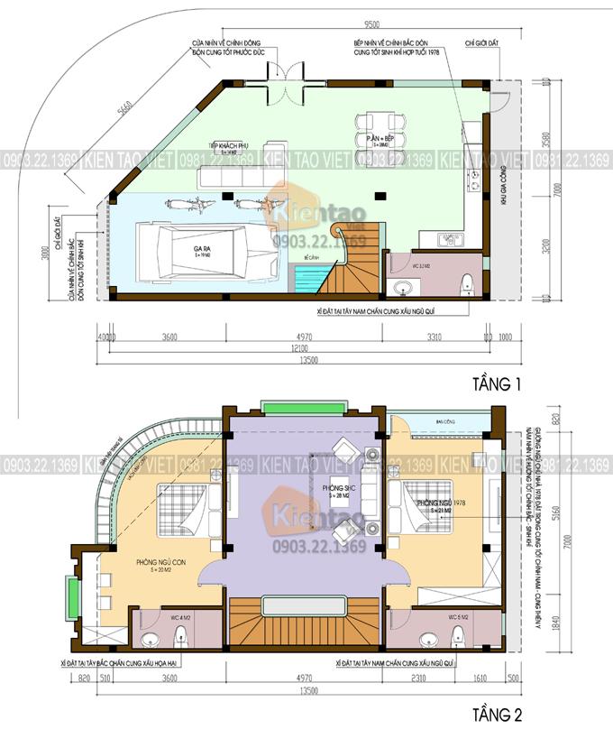 Mặt bằng tầng 1+2 - Nhà ống giả biệt thự 7x13,5m 2 mặt tiền cao 3 tầng ở Hải Dương