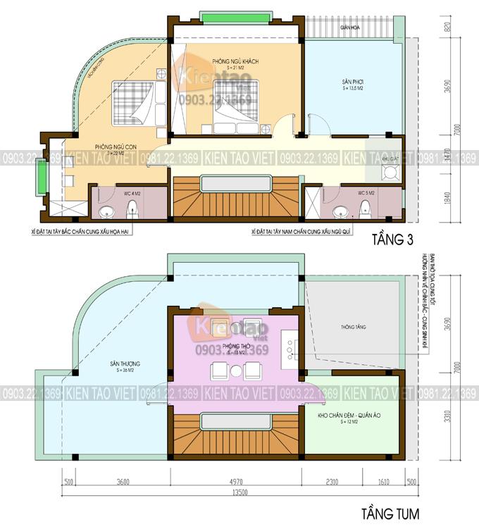 Mặt bằng tầng 3 + tum - Nhà ống giả biệt thự 7x13,5m 2 mặt tiền cao 3 tầng ở Hải Dương