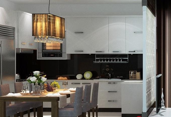 Không gian phòng bếp - Mẫu nhà ống mặt tiền 7m cao 3 tầng hiện đại